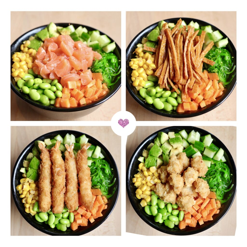 Poké Bowls zalm, tofu, garnalen en kip. De Gouden Muur Rheden